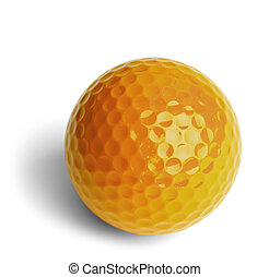 Yellow Golf Ball - Yellow Miniature Golf Ball Isolated On...