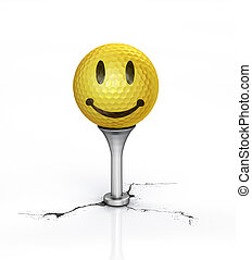 Yellow Golf ball with the texture of smile, placed on tee.