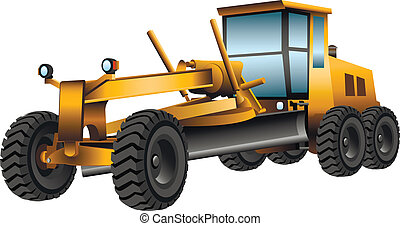 grader - yellow grader with a shovel on a white background