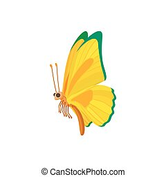 Yellow-green butterfly icon, cartoon style