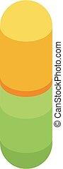 Yellow green capsule icon, isometric style