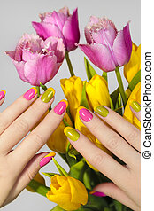 Yellow green French manicure .