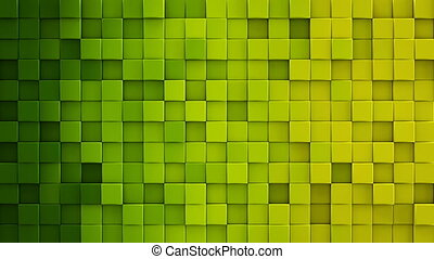 Yellow green gradient cubes 3D render loopable animation -...