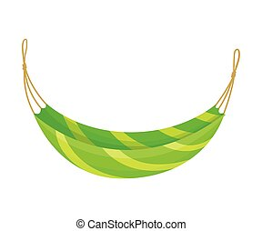 Yellow Green Hammock. Vector illustration on white background.