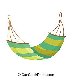 Yellow-green hammock. Vector illustration on white background.