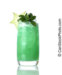 Yellow green mojito cocktail decorated with star tropical fruit in high ball cocktails glass isolated on white