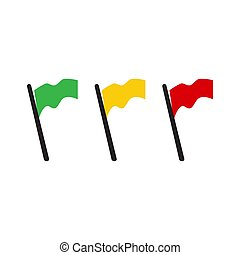 yellow green red flag vector icon in flat design style