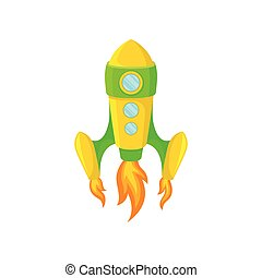 Yellow-green rocket with windows. Vector illustration on white background.