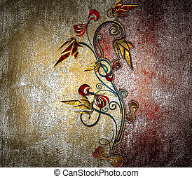 Yellow grunge and red wall with a pattern of flowers on a white background. Design template. Design site