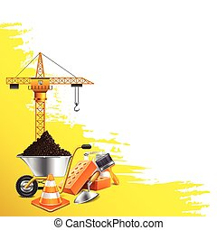 Yellow grunge background and construction objects vector