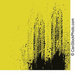 Yellow grunge background with black tire track