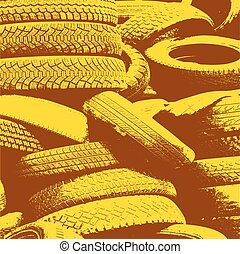 Yellow grunge background with black tire track. Vector illustrat