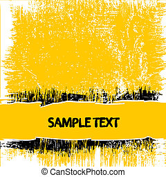 Yellow grunge abstract background with copy space