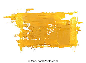 yellow grunge brush strokes oil paint isolated on white