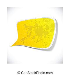 Yellow grunge speech label design.