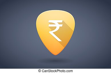 Yellow guitar pick icon with a rupee sign