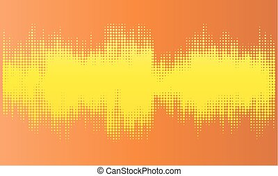 Yellow halftone abstract design background in the form of wave.