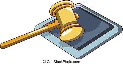 Yellow hammer judge icon, cartoon style