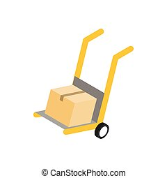 Yellow hand cart with cardboard box icon in isometric 3d...