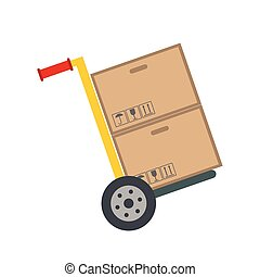 Yellow hand cart with cardboard boxes flat icon isolated on...