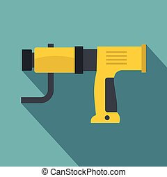 Yellow hand drill icon, flat style