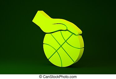 Yellow Hand with basketball ball icon isolated on green background. Sport symbol. Minimalism concept. 3d illustration 3D render