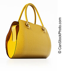 Yellow handbag isolated on white background. 3D illustration
