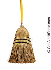 Yellow handled broom on a white background