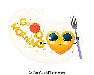 Yellow happy heart character on fried egg. Cute face with big eyes and hands. Vector cartoon illustration for kids