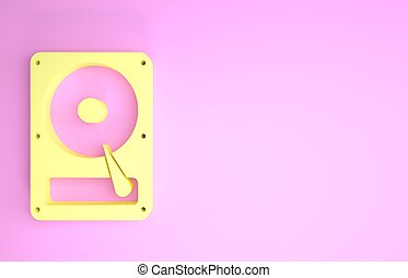 Yellow Hard disk drive HDD icon isolated on pink background. Minimalism concept. 3d illustration 3D render