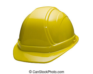 Yellow Hard Hat - A close up on a yellow hard hat isolated...