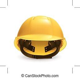 Yellow hard hat - Hard hat icon, isolated on white ...
