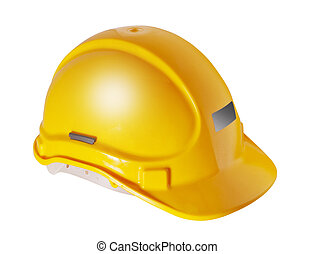 Yellow hard hat isolated on white - Yellow hard hat used in...