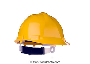 Yellow Hard Hat (Isolated) - Yellow Plastic Safety Hard Hat,...