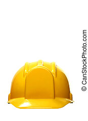 yellow safety headgear on white background with copy space
