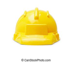 Yellow Hardhat - Yellow Plastic Hardhat Isolated On White...