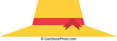 Yellow hat vector illustration. - Yellow woman hat isolated...