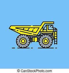 Yellow haul truck line icon