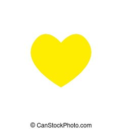Yellow Heart Icon Object Symbol Gradient Vector Art Design Cartoon Isolated Background