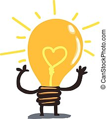 Yellow heart in light bulb