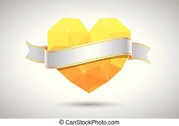 Yellow heart with ribbon. Valentine's, Mother's and Wedding Day
