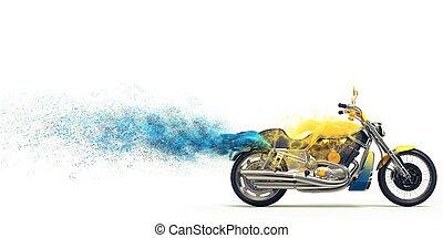 Yellow heavy bike - blue particles - Yellow heavy bike -...