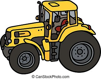 Hand drawing of a yellow heavy tractor - not a real model