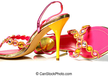 Yellow heel shoes - Yellow and pink high heels shoes with...