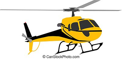 Yellow helicopter isolated on a white background.