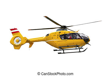 Yellow helicopter - Yellow emergency helicopter