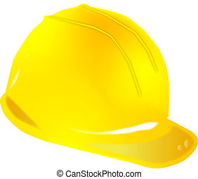 Yellow helmet force on white background