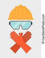 Yellow helmet glasses gloves icon. Vector graphic