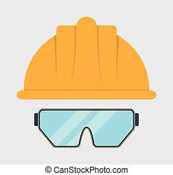 Yellow helmet glasses icon. Vector graphic