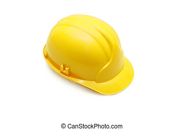 Yellow helmet isolated on white background